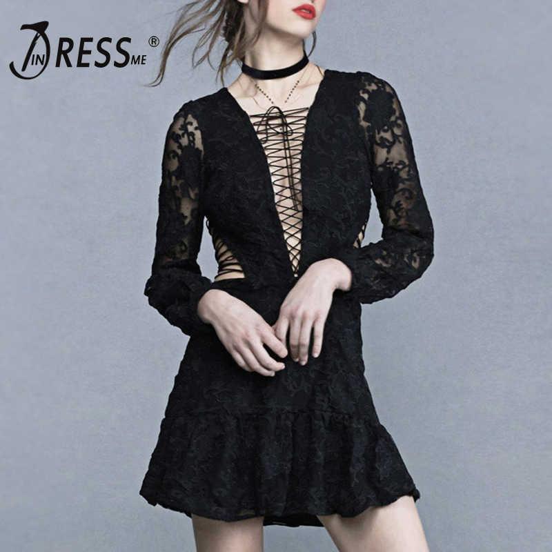 INDRESSME 2019 Новое сексуальное кружевное платье с перекрестными завязками черное белое женское платье с длинным рукавом и v-образным вырезом