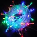 LED Luces de Navidad 10 M/100led 9 colores AC110 220 V EE.UU. Enchufe de LA UE Llevó la Luz de la Secuencia Del Banquete de Boda Luces de la decoración Al Aire Libre