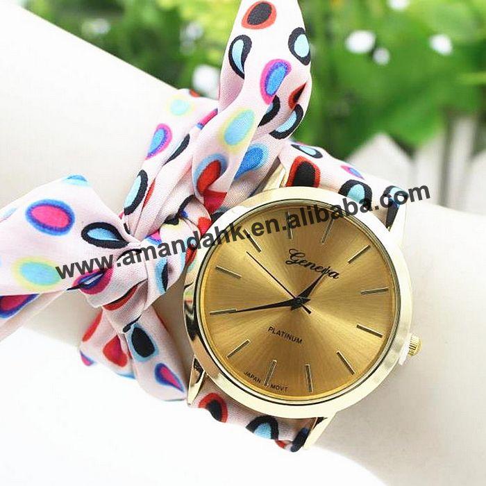 Woman Dress Wristwatch Geneva-Fabric Bracelet Quartz Wirst Sweet New Girl Top Cloth Dot-Pattern