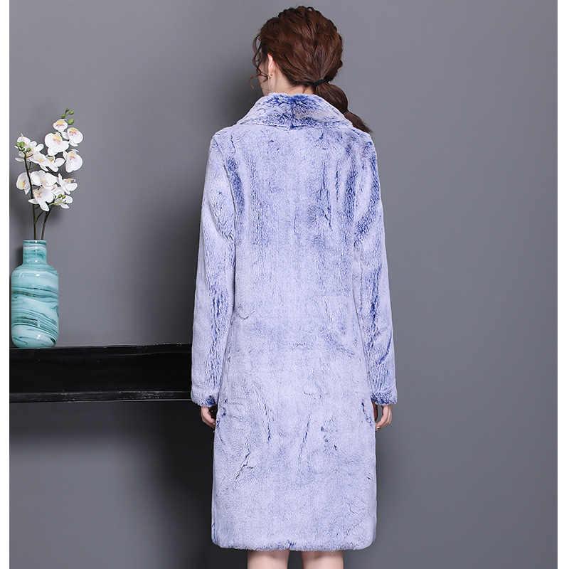 Nerazzurri/зимнее пальто из искусственного меха для женщин, роскошная пушистая утепленная куртка, длинная, большие размеры, верхняя одежда с искусственным кроличьим мехом, 5xl 6xl