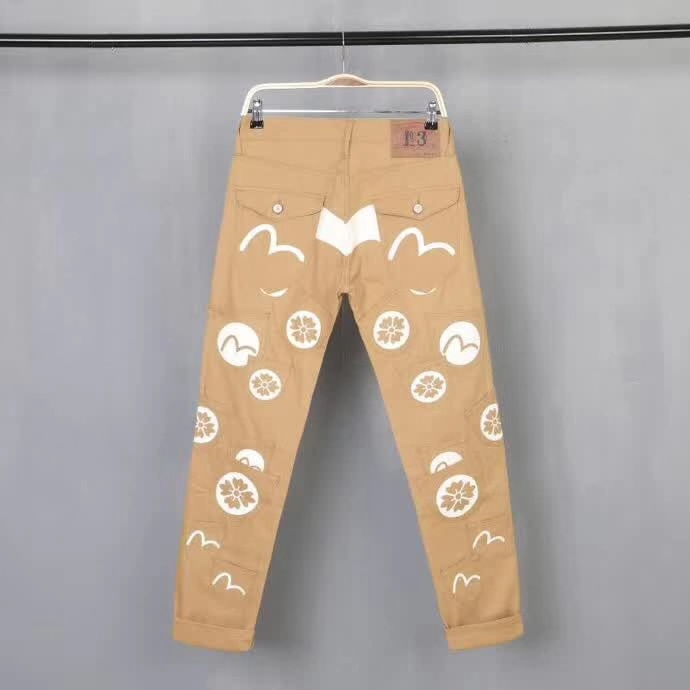 Evisu Casual Men's Breathable High Quality Khaki Casual Pants Warm Men's Tide Brand Cotton Straight Print Keep Warm Men Trousers