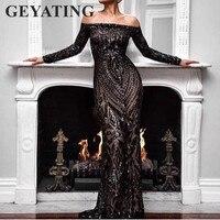 Saudi Arabic Black Sequins Mermaid Evening Dress Long Sleeves Off Shoulder Elegant Women Formal Dress Party Prom Dresses 2018