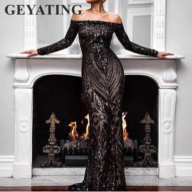 Saudi Arabic Black Sequins Mermaid   Evening     Dress   Long Sleeves Off Shoulder Elegant Women Formal   Dress   Party Prom   Dresses   2019