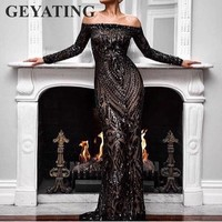 Saudi Arabic Black Sequins Mermaid Evening Dress Long Sleeves Off Shoulder Elegant Women Formal Dress Party Prom Dresses 2018