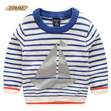 Striped Boys Sweaters New Arrival Spring Fashion Sailing Boat Printed Children Sweaters Kids Knitted Top Casual Baby Boy Clothes