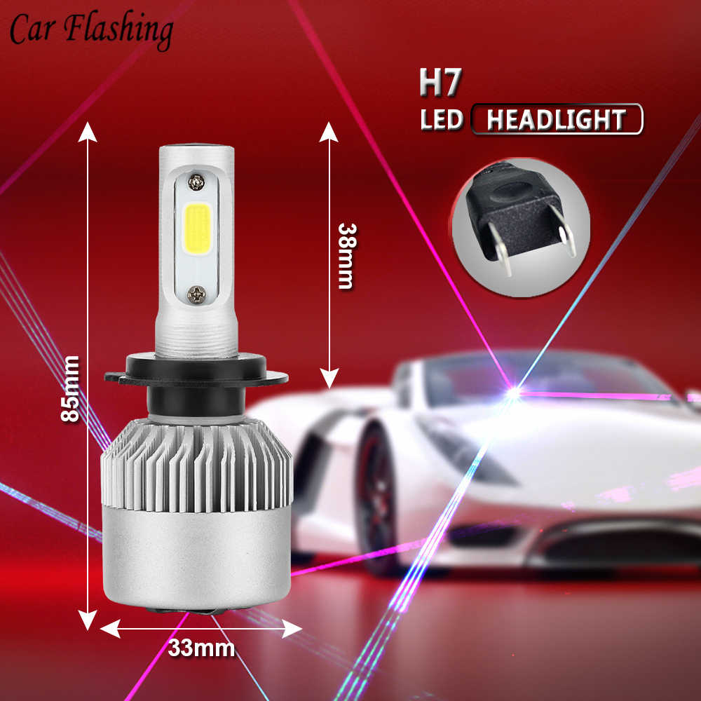 LED 6000K H4 LED H7 H11 H1 H3 9004 9005 9006 COB Chip S2 Auto Car Headlight 72W 8000LM High Low Beam All In One Automobiles Lamp