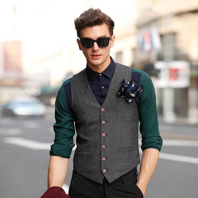 New Men's Suit Vest V Neck Wool Herringbone Tweed Casual Waistcoat Formal Business Vest Groomman For Green/Black/Brown/Coffee+++