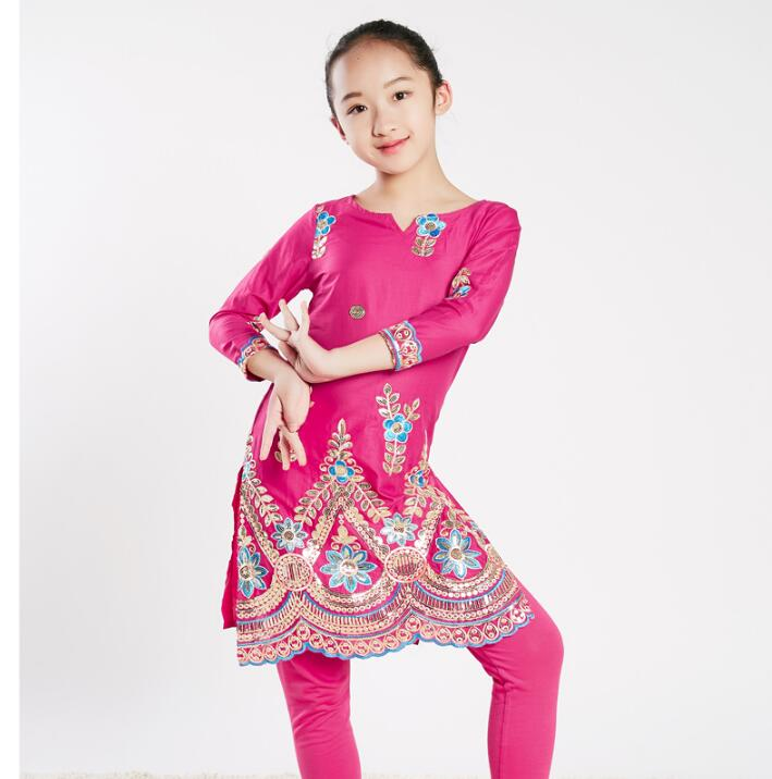 Sarees India Traditional Children Cotton Costume Ethnic Style Performance Girl Dance Embroidery Top