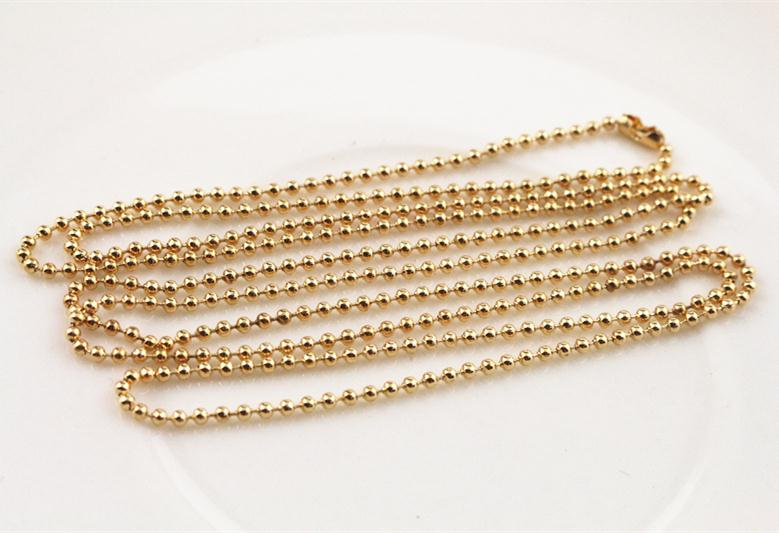 5pcs 1.5mm Gold Plated  Ball Beads Chain Necklace Bead Connector 65cm(25.5 inch) (Z1-16)5pcs 1.5mm Gold Plated  Ball Beads Chain Necklace Bead Connector 65cm(25.5 inch) (Z1-16)