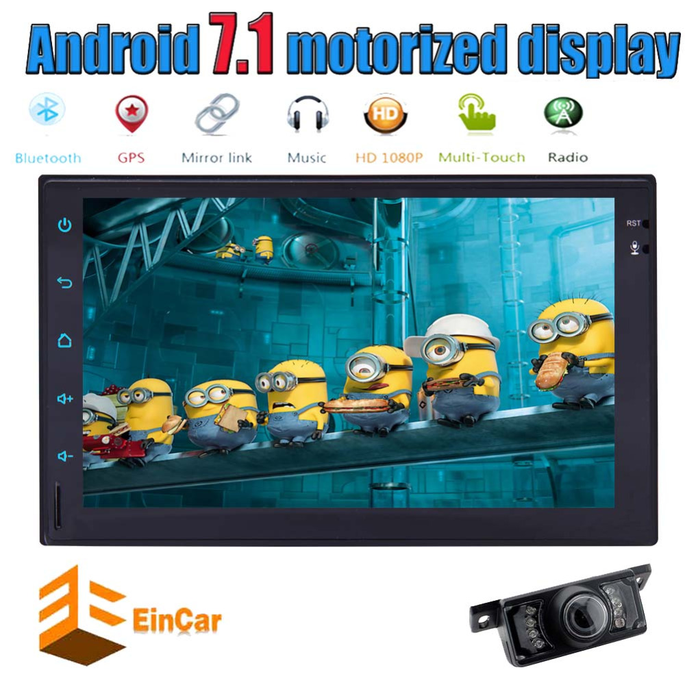 Eincar Android 7.1 Quad Core Car Autoradio 7 WiFi Double 2DIN Car Radio Stereo BT GPS Navi OBD2 microphone USB SD Game+camera