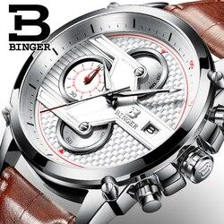 Szwajcaria luksusowy męski zegarek BINGER marka kwarcowe zegarki mężczyźni duża tarcza projektant chronograf wodoodporny zegar B-9018-4
