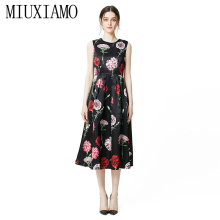 MIUXIMAO 2019 New Fashion Runway Summer Dress Women's Retro Sleeveless Flower Print Vintage Dress Women vestidos sleeveless flower print vintage dress