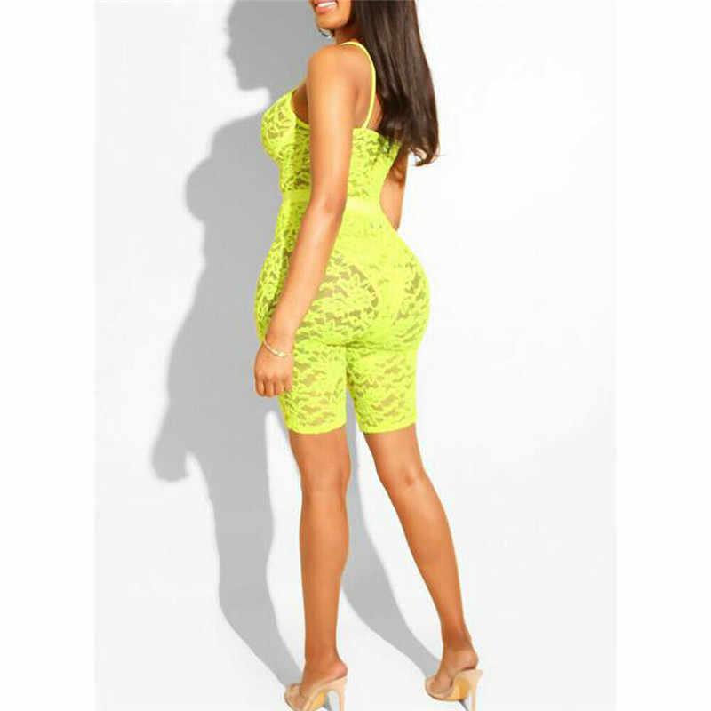 Сексуальный женский кружевной комбинезон с v-образным вырезом, Облегающий комбинезон с высокой талией, прозрачные вечерние Ночная рубака, комбинезон, цельный комбинезон