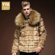 ФОТО British Prince Winter Warm Faux Fur Coat Short Style Plaid Big Fur Collar Jacket Slim Fit Night Club Party Overcoats Male Coats