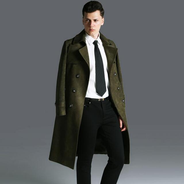 40cac9d6c92 Deerskin velvet long trench coat mens male 2019 ultra long overcoats mens  outerwear plus size fashion army green england S - 6XL