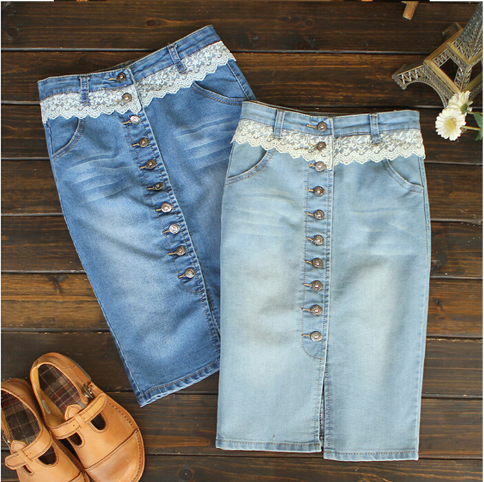 Online Shop Denim Lace Pencil Skirts Women Split Button Opening ...