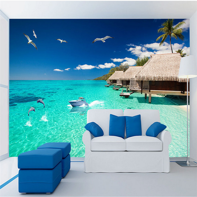 customized 3d mural, seaside landscape 3d background wall, living room bedroom sofa TV background wall 3d wallpaper home decor  free shipping pine forest 3d landscape background wall living room bathroom bedroom home decoration wallpaper mural