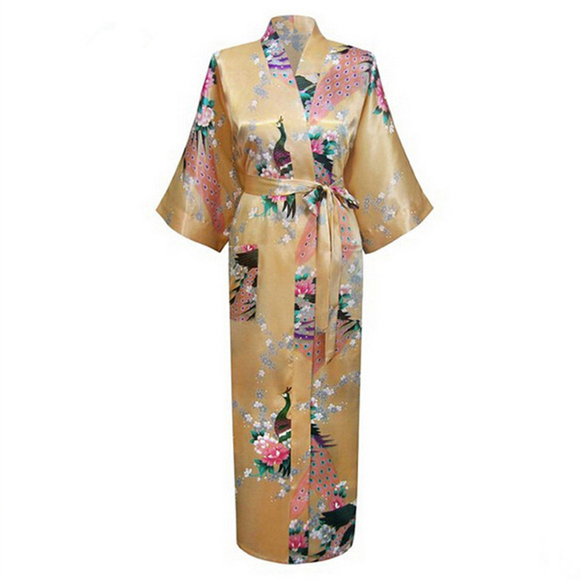 Summer Women Lounge Satin Bathrobe Sexy Lingerie Sleepwear Long Nightgown Robes  Yukata Bat-wing Sleeve Plus Size S-XXXL NR066