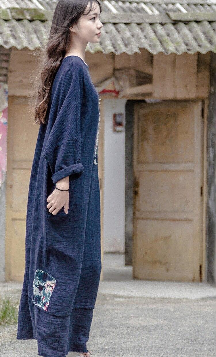 Aliexpress.com : Buy Blue Patchwork Linen Dress Cotton Plus size ...