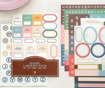 11 hojas creativo icono etiqueta para oficina sello pegatinas DIY diario cuaderno calendario álbum decoración de colección de recortes