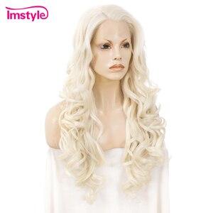 Image 3 - Imstyle בלונד סינטטי תחרה מול פאה ארוך גלי פאות עבור נשים חום סיבים עמידים טבעי קו שיער תחרה פאת פאת קוספליי