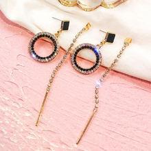 Fyuan модные круглые серьги кольца с черными кристаллами золотые