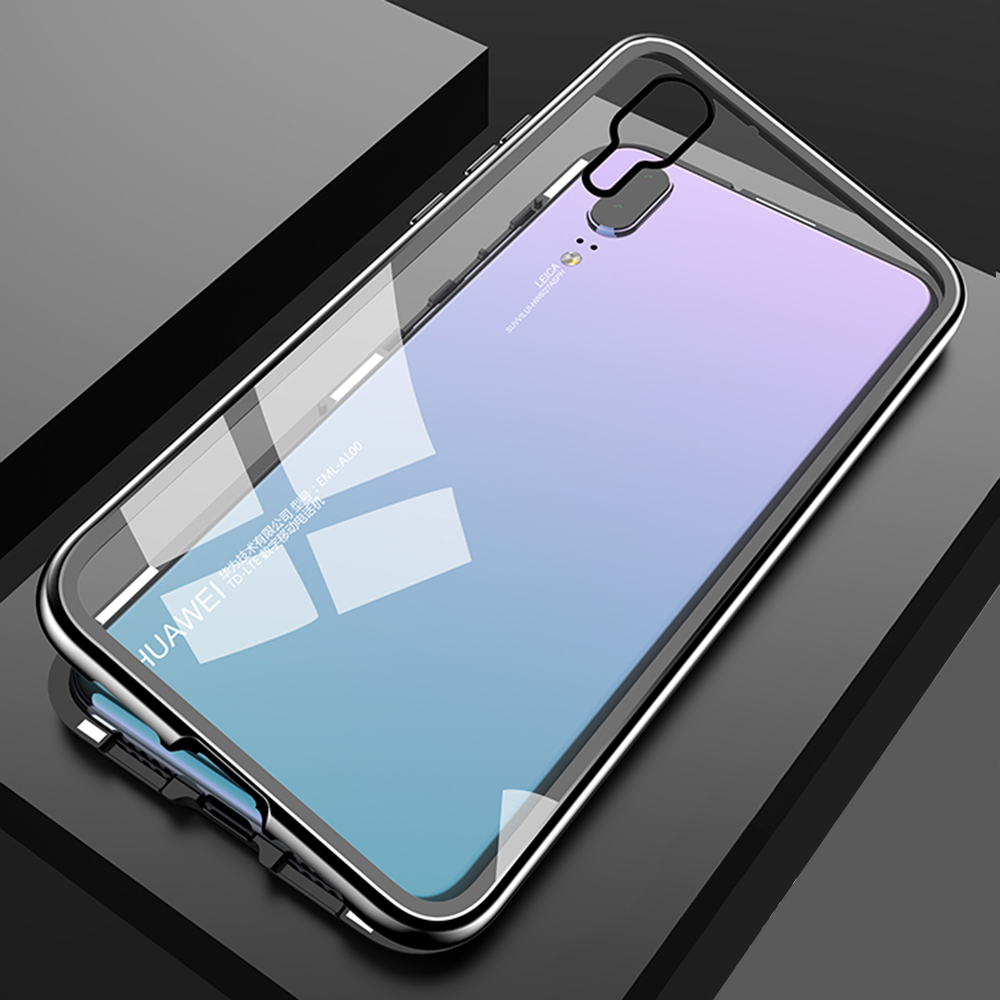 Magnetic Flip Phone Case with screen protector for HuaweiP20 Pro Clear Tempered Glass Magnet Case for huawei p20 pro Metal Cover (20)