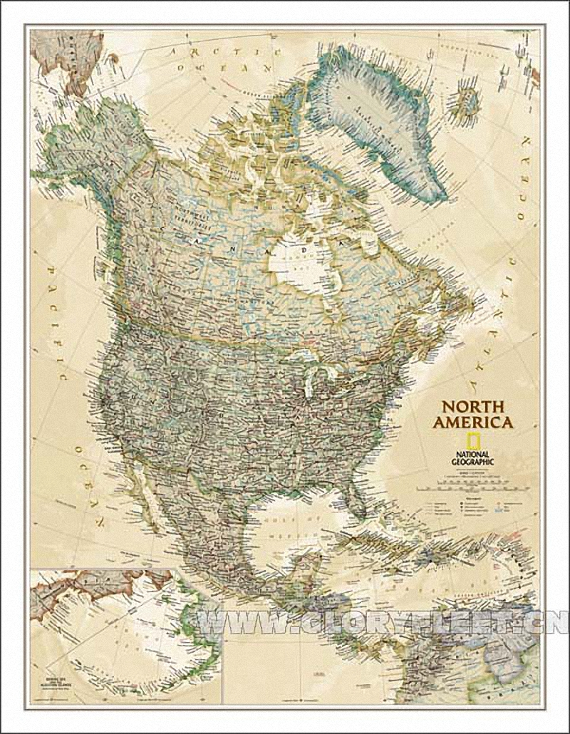 Large Vintage South North America Map Home Decoration Detailed ...