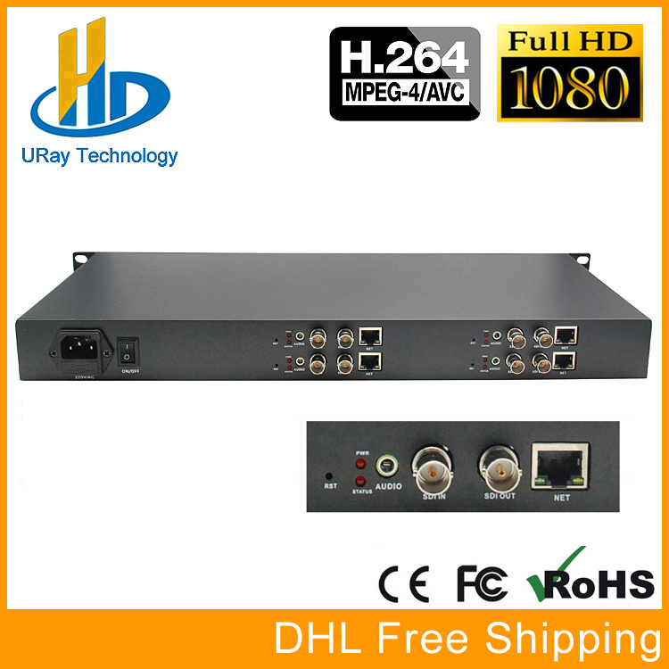 1U 4 Channels H.264 SD HD 3G SDI To IP Video Streaming Encoder H264 RTSP RTMP Encoder For IPTV, Live Streaming Broadcast, Server uray 4 channels hevc h265 hd sdi 3g sdi iptv encoder streaming sdi to ip encoder server udp multicast sdi encoder hardware h264
