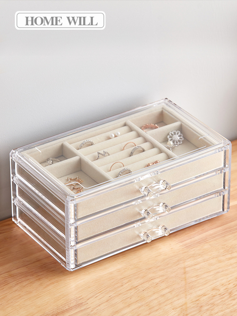 Jewelry storage box female earrings earrings hand jewelry earrings to pack acrylic transparent large capacity simple box