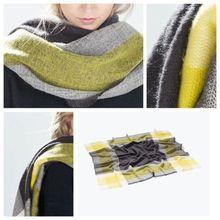 1PC Yellow Unisex Women Men Winter Warm Blanket Oversized Tartan Scarf Large Wrap Shawl Plaid Cozy Checked Pashmina Stole