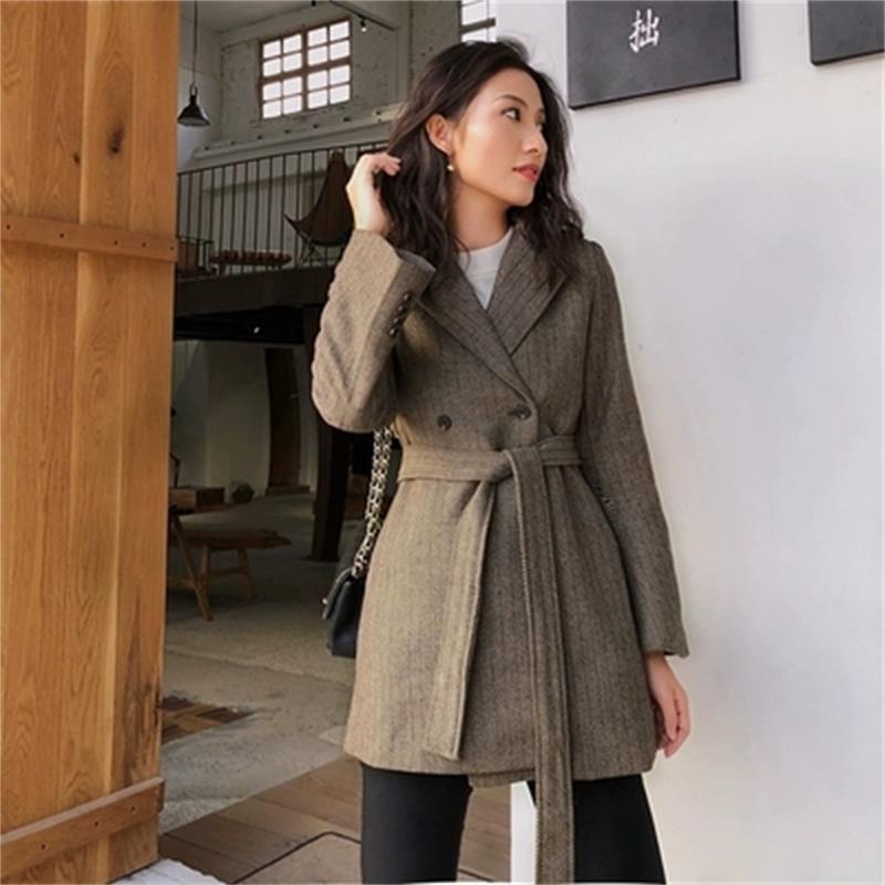 Пиджаки Женская куртка новая Высокое качество Модный костюм куртка Женская длинная секция Ретро Повседневная елочка узор свободный костюм