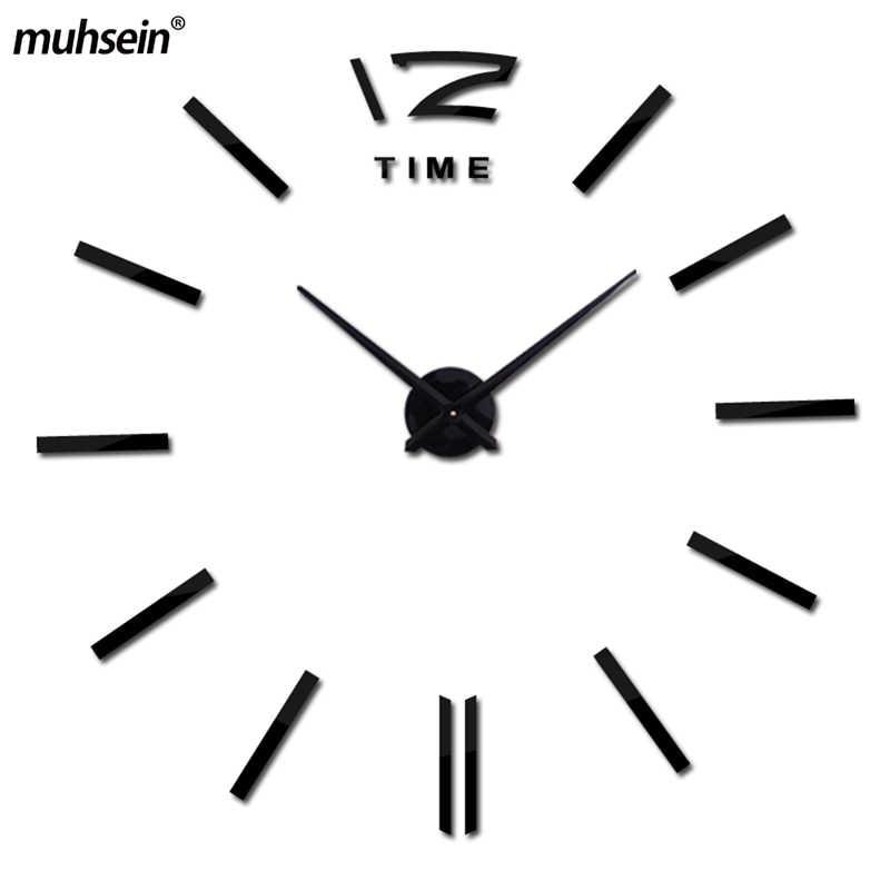 2019 新着クォーツ時計ファッション腕時計 3D リアルビッグ壁時計急いミラーステッカー DIY リビングルームのインテリア送料無料