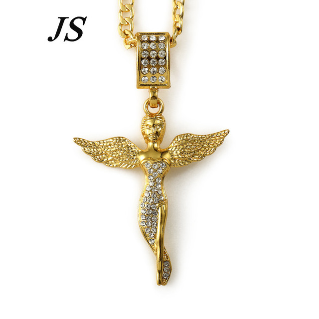 """JS 2016 Collier Femme Strass 29.5"""" Long 24K Gold Plated Chain Golded Angel Wings Girl Necklaces Women Neckless Gift HN031"""