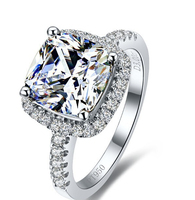 Classic 3 Carat Cushion Cut SONA Synthetic diamant Solitaire Engagement Ring for women in sterling 925 pure solid silver (BB)