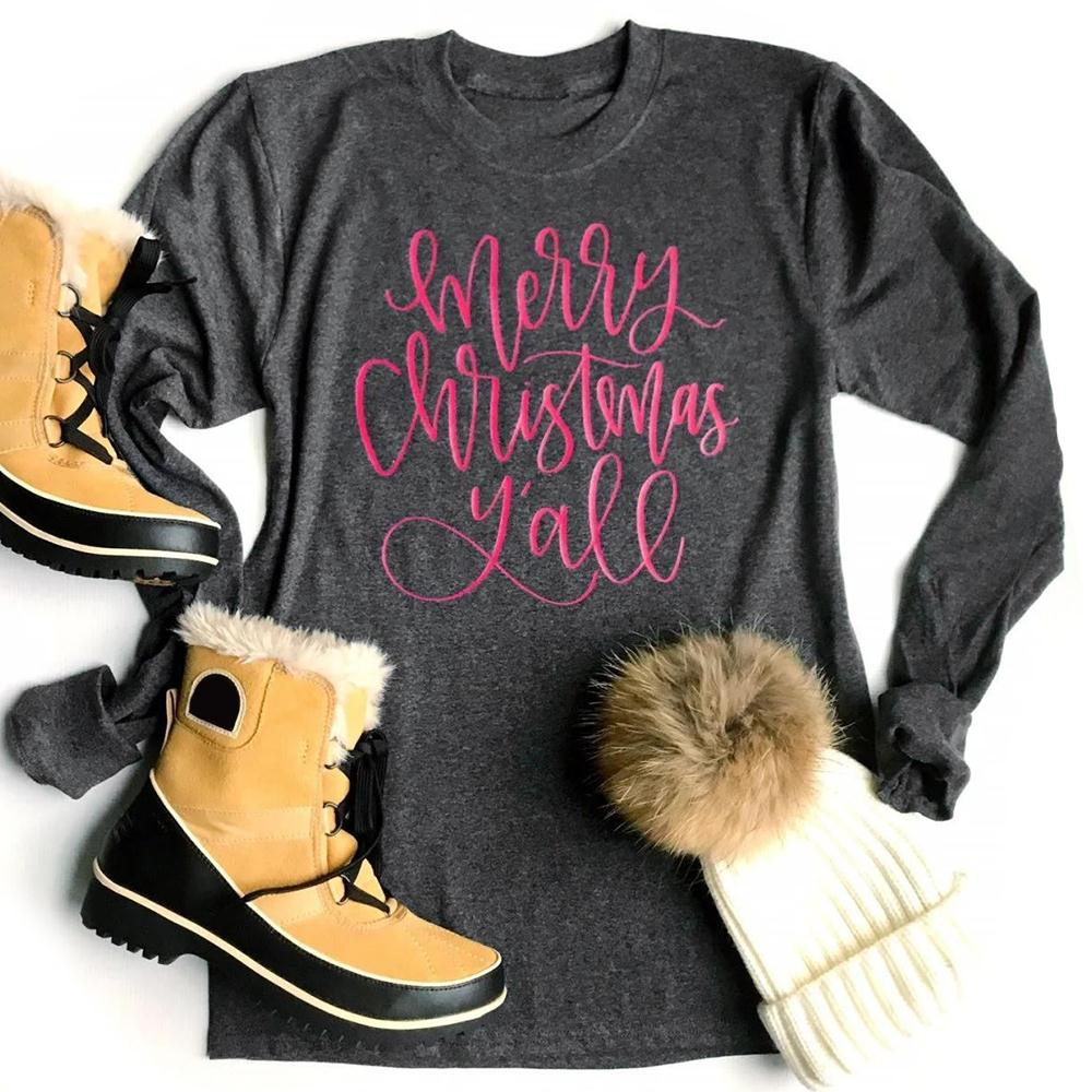 VIN Beauty Fashion 2018 Women T Shirt Merry Christmas Yall Letters Printed Baseball T-Shirt Long Sleeve Gray Tees Casual Tops