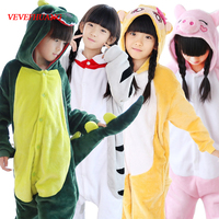 VEVEFHUANG Boy Girl Unicorn Panda Children Pajamas Unisex Flannel Stitch Kids Pajamas Cartoon Animal Cosplay Onesie