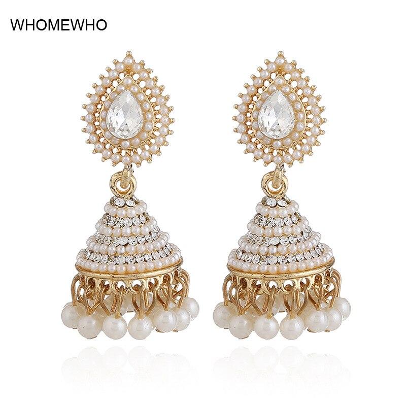 d1b980b24 2018 Fashion Faux Imitation Pearl Indian Jhumka Jhumki Drop Earrings Women  Gold Long Chain Wedding Bridal