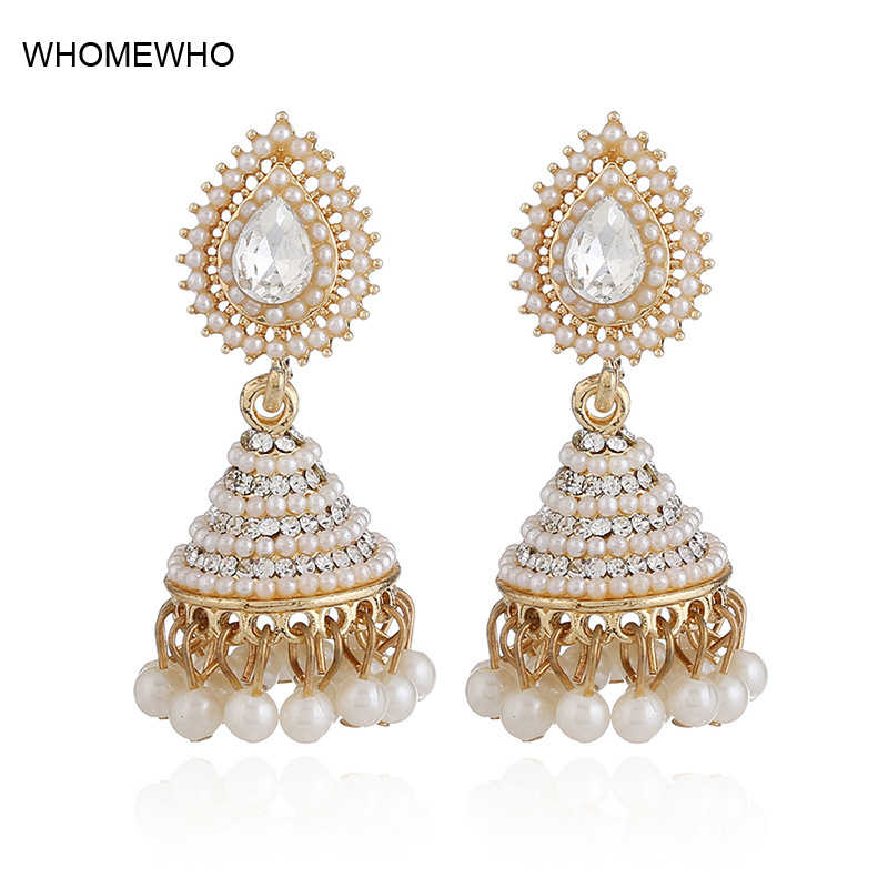 11796f7b0 2018 Fashion Faux Imitation Pearl Indian Jhumka Jhumki Drop Earrings Women  Gold Long Chain Wedding Bridal