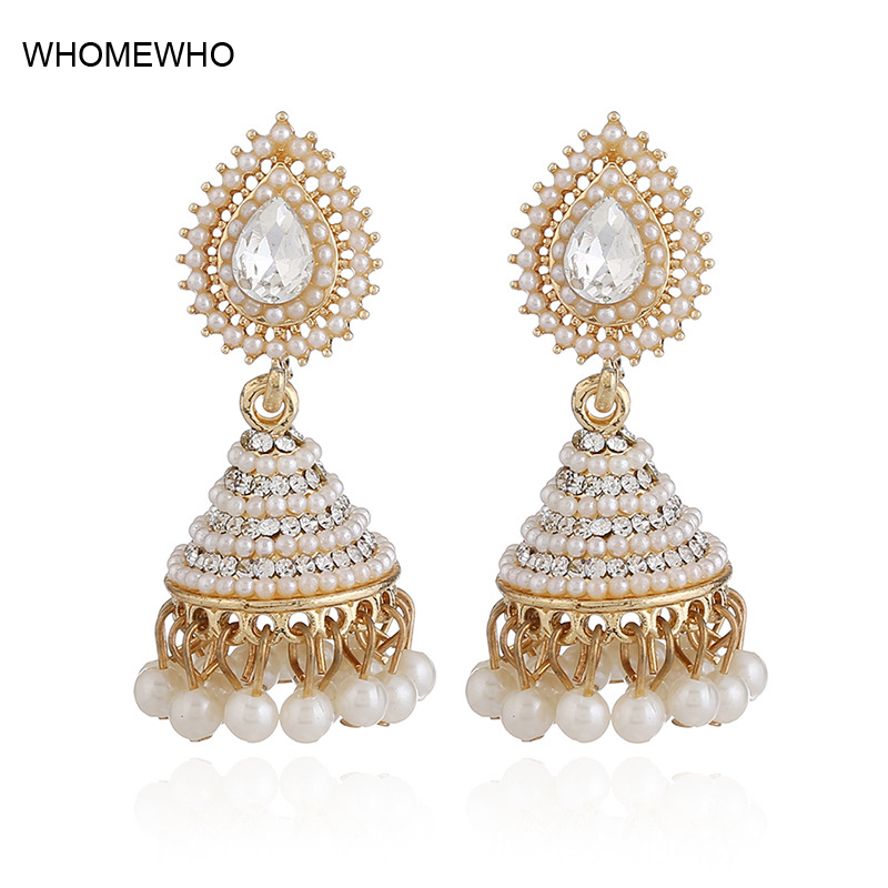 Us 3 12 32 Off 2018 Fashion Faux Imitation Pearl Indian Jhumka Jhumki Drop Earrings Women Gold Long Chain Wedding Bridal Party Jewelry Gifts In