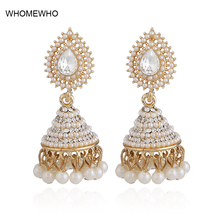 2018 Fashion Faux Imitation Pearl Indian Jhumka Jhumki Drop Earrings Women Gold Long Chain Wedding Bridal Party Jewelry Gifts