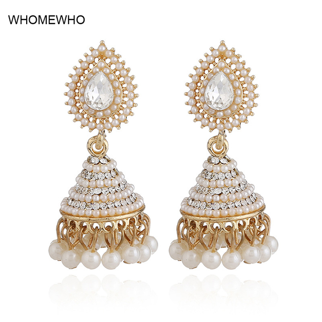 2018 Fashion Faux Imitation Pearl Indian Jhumka Jhumki Drop Earrings Women Gold Long Chain Wedding Bridal