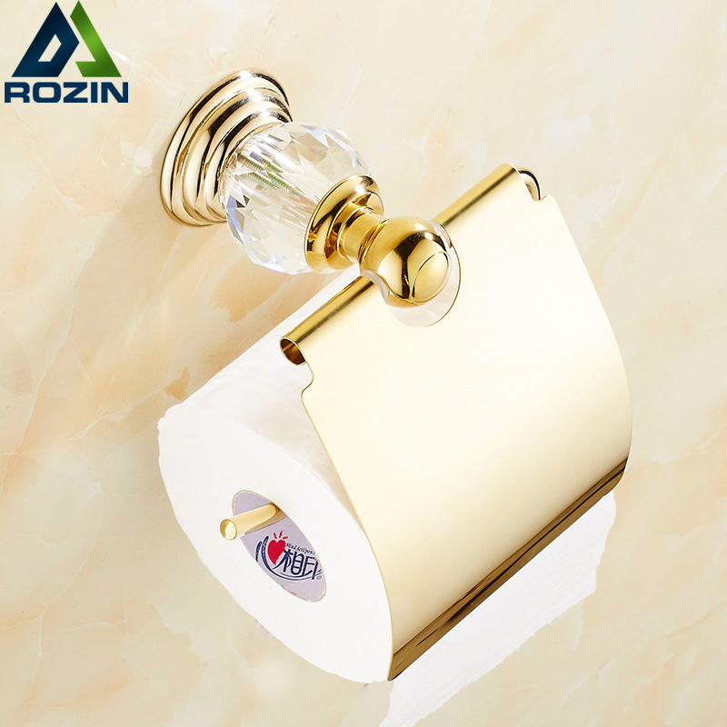 Fashion Crystal Paper Holders Wall-mounted Brass Toilet Paper Rack Bathroom Accessories Product free shipping wholesale and retail wall mounted toilet paper holders antique brass creative bathroom roll paper rack rod