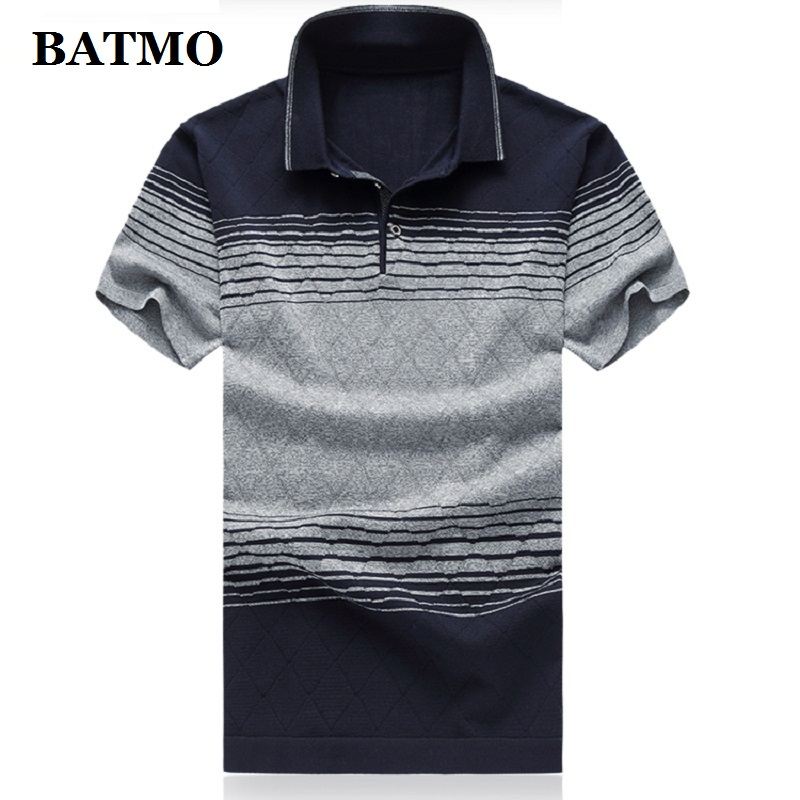 BATMO 2019 new arrival summer high quality silk striped casual men's   polos   ,men's   polo   shirts size M-7XL 8710