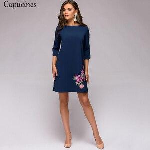 Image 3 - 2019 秋の女性のファッションアップリケドレス女性oネック 3 分袖カジュアルルースドレス女性ミニパーティードレス