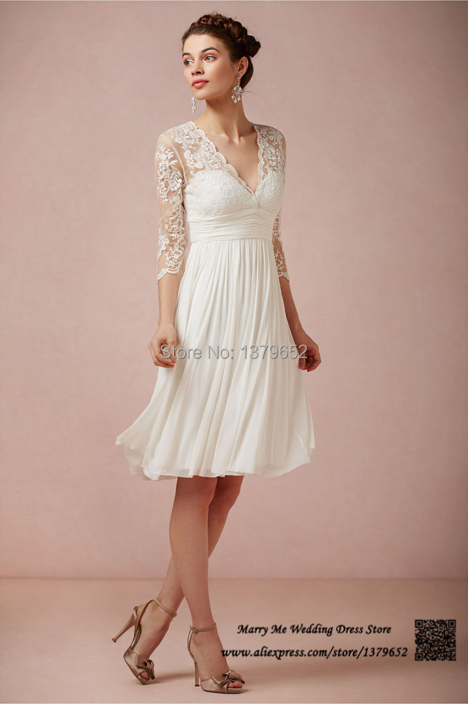 2015 New Arrival 3 4 Sleeves White Summer See Through Short Wedding Dress Plus Size Chiffon V Neck Bridal Gown Lace Knee Length In Dresses From