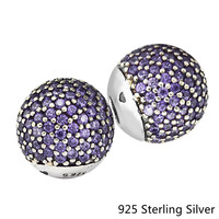 Pave Open Bangle Caps, Fancy Purple & White CZ Authentic 925 Sterling Silver DIY Beads Lady Charms for Women Jewelry Making Gift