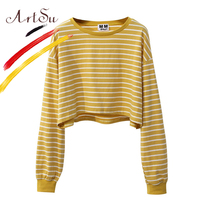 ArtSu Korea Sweet Women Crop Top Harajuku Long Sleeve Striped Top T Shirt 2017 Girl S