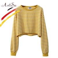 ArtSu Korea Süße Frauen Crop Top Harajuku Langarm Gestreiften Top T-shirt 2017 mädchens Herbst Lose T-Shirt Streetwear ASHO20085