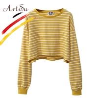 Artsu Corea Sweet mujeres cultivo Top Harajuku manga larga rayas camiseta superior 2017 de la muchacha camiseta floja del otoño streetwear ASHO20085